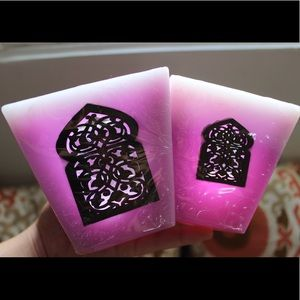 Set of 3 Pink Moroccan Natural Wax Candle Holder